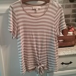 MICHAEL KORS tan stripe top Sz L